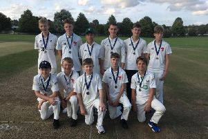 Henfield U14s - Back row left to right: Tom Lewis, James Hampton, Toby Samrah (captain), Dan Woodward, Asmus Minchell, Oliver Mackinnon''Front row left to right: Laurence Pound, Will Davies, Felix Minchell (wicket keeper), Max Buxton, Edward Helps
