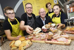Paul Adair, chef John Lyttle, Usel CEO Bill Atkinson, Robert McIlroy and Bronagh Donnelly at the opening of the Ability at the Drawbridge Cafe at the Ecos Centre in Ballymena