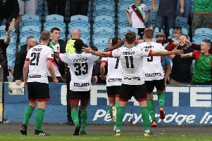 Glentoran celebrate their late winner