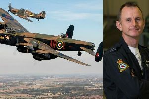 The Lancaster in the foreground with the Spitfire behind. The latter is being piloted by Flt Lt Andy Preece to entertain SO Festival crowds.  Photo:  Crown Copyright.
