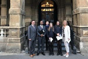 Deputy chair of the Kenilworth Multi Academy Trust and Warwick District Councillor Richard Hales, Headteacher Hayden Abbott and trustee Shirley Whiting join students at Leamington Town Hall where planning permission was approved for the new school and sixth form.