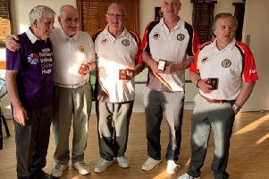 Lurgan bowlers, Gordon Bell, Alan Briggs, Ronan Cregan and Alan Roberts who won the NI Children's Hospice Rinks Tournament at Cloughey with Tommy Thompson, Organiser