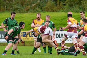 No way through for Bruffs Cian Clifford against City of Derry at the Craig Thompson Stadium on Saturday afternoon last. DER4019GS  029