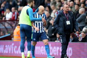 Aaron Mooy was sent-off for Brighton against Aston Villa