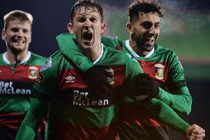 Glentoran captain Marcus Kane enjoys his goal against Ballymena United. Pic by Pacemaker.