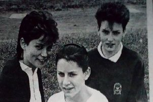 Girls from St Patrick's Secondary School wh owon top awards at the school's annual Sports Day - Tanya McLaughlin, Karen Dinsmore and Caole McGurke. 1989