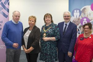 Mayor Cllr Maureen Morrow along with Speakers, Dr Brian Hunter, Marjorie Hawkins, Chair of Mid & East Antrim Loneliness Network, MC Hugh Nelson NHSCT and Cllr Geraldine Mulvenna (Dementia Choir).