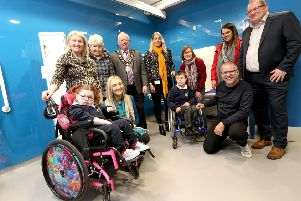 Mayor of Antrim and Newtownabbey, Alderman John Smyth is joined by Councillor Leah Smyth, Councillor Paul Dunlop and Councillor Neil Kelly to officially open the new Changing Places facility at Antrim Forum with local residents