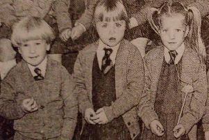 A happy group of girls pictured on their first day at All Saints Primary School 1989