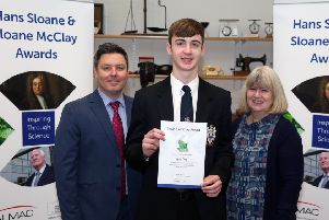 Sloane McClay (Triple) third place recipient James Craig from Ballymena Academy pictured with Prof. Tom Moody (Almac) and  Dr Sally Montgomery (Hans Sloane Memorial Fund Trust)