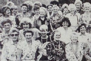 Ballymena Golf Club Lady Captain, Paddy Fox, with some of the competitors and guests on Lady Captain's Day. 1989
