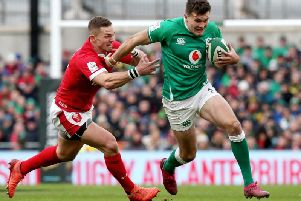 Ireland's Jacobn Stockdale on the attack against Wales
