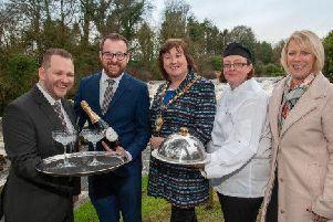 L-R: Richard McGowan ' Project Manager School of Excellence, Aaron Logan ' Food and Beverage Manager, Mayor Cllr Maureen Morrow, Donna Hughes Catering Support Manager, Michele McCreary NI Manager with The Springboard Charity