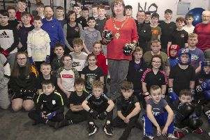 Mayor, Cllr Maureen Morrow along with members and coaches from Braid ABC Boxing Club