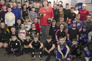 Mayor, Cllr Maureen Morrow along with members and coaches from Braid Boxing Club