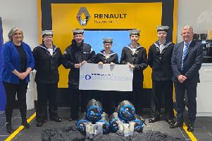 Ballymena Sea Cadets are among the first round of successful applicants to receive funding from the Donnelly Group Foundation.(L-R) Ruth Verner ' Ballymena Sea Cadets, OC Jonas, Cadet Lee, Cadet Ana, OC Andrew, OC Jamie and Darren Gardiner ' Donnelly and Taggart Ballymena.
