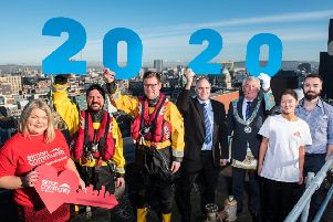 Pictured at the launch of the Grand Master's Vision 2020 Festival for the Provincial Grand Lodge of Antrim are (l-r) Joanne McAllister, Simon Community, Glen McMahon and John Bell, RNLI, Paul Harvey, Freemason, Provincial Grand Lodge of Antrim, Provinicial Grand Master, John McLernon, Provincial Grand Lodge of Antrim, Ruth Hanahoe, Major Gifts Managr, MSF and Dr Mark ,McNicol, MSF Infectious diseases