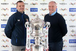 Coleraine manager Rodney McAree with H&W Welders manager Norman Kelly