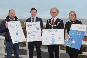 Announcing the Causeway Chamber President's Lunch at the Royal Court Hotel, Portrush on Wednesday 20th Feb 12 to 2pm and with President Murray Bell are Gary McClarty MD of MCL InsureTech, Mark Donnelly of The Merrow Hotel and Spa, Portstewart and Annette Deighan Operations Manager with the Chamber.   Chamber Lunch_8904-2