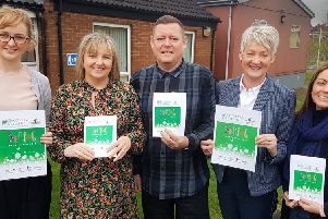 Launching the Western Trust Recovery College Spring 2019 Prospectus are from left to right: Tracy Gray, Lead Peer Educator CAWT  IRecovery College; Olive Young,  Western Trust Project Co-ordinator  Recovery College; Victor Carruthers; Siobhan Toorish and Dr Caroline Kenny, Western Trust Slievemore Recovery Service.