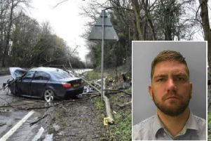 The crash scene (inset: Shane Taylor). Picture supplied by Sussex Police