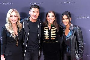 Derry make-up artist, Antonia Gallagher (second from right) pictured with, from left, Anastasia Soare (Anastasia Beverley Hills), Mario Dedivanovic  and Kim Kardashian prior to Mario's Make-Up Master Class in Los Angeles last week.