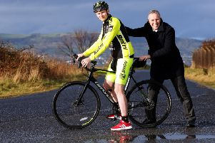 North Antrim MP, Ian Paisley with Holywood man Adam Carroll.