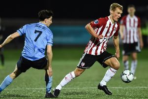 Derry City debutante, Greg Sloggett begins an attack against his former club, UCD.