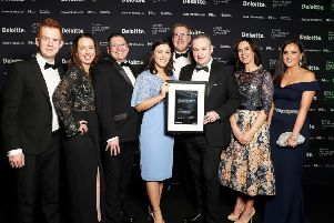 Colleagues from CDE Global, based in Cookstown, pictured at the 2019 Deloitte Best Managed Companies gala in Dublin. It is the 11th consecutive year that CDE Global has received the award.