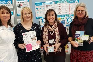 Sharon Mullarkey, Community Dental Team; Joanne Mullan, Macmillan Specialist Palliative Speech and Language Therapist; Christine Harper, Speech and Language Therapist and Clodagh Hastings, Assistant Services Manager supporting the Swallowing Awareness Day Campaign.