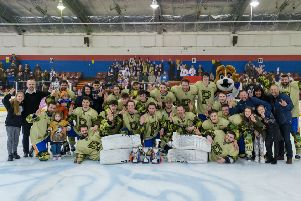 Peterborough Phantoms players and officials with their three trophies. Photo: �2018 Tom Scott. All rights reserved.