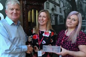 From left, John McCleary, Mitchells & Butlers, Rachel Lapins, Account Manager, Hobart Service, and Rachel Coley, Mitchells & Butlers Operations Manager.
