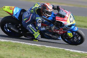 Richard Cooper on the Buildbase Suzuki in the National Superstock 1000 class at Silverstone. Picture: David Yeomans.