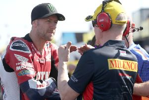 Honda Racing rider Ian Hutchinson (left) at the North West 200 on Tuesday.