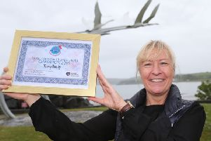 Trudy Brolly from Ocho Tapas in Portrush proudly displays her certificate after winning the Ulster Chowder Championship held during Rathlin Sound Maritime Festival in Ballycastle