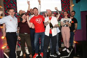Members of the LGBT community celebrate at the Maverick bar, Belfast, as same-sex marriage in Northern Ireland came a step closer after MPs voted to legalise it if a new Stormont Executive is not formed by October. Photo credit: Peter Morrison/PA Wire