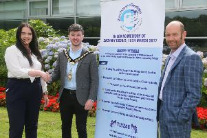 The Mayor of Causeway Coast and Glens Borough Council Councillor Sean Bateson pictured with Yasmin and Terry Geddis from The Zachary Geddis Break the Silence Trust, which has been selected as the Mayor's official charity for the year ahead