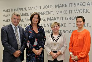 Robin Orr, Founding Member and Director Enterprise Causeway;  Jayne Taggart, Chief Executive of Enterprise Causeway; Deputy Mayor of Causeway Coast and Glens Borough Council, Alderman Sharon McKillop, with Dr Karise Hutchison, Chair of the Enterprise Causeway Board