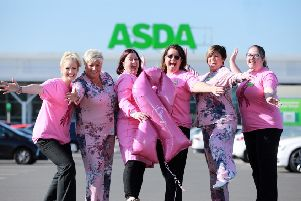 Shannon Linton, Asda Coleraine is joined by other community champion colleagues, Victoria Gregg, Asda Bangor, Barbara Logan, Asda Antrim, Shannon Linton, Asda Coleraine, Catherine McCallion, Asda Larne and Linda Owens, Asda Downpatrick alongside Dr Niamh Buckley, from the School of Pharmacy at Queen's University Belfast and Breast Cancer Now Scientific Fellow