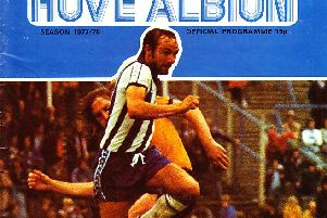 The programme cover from Brighton and Hove Albion vs Tottenham Hotpsur in 1978