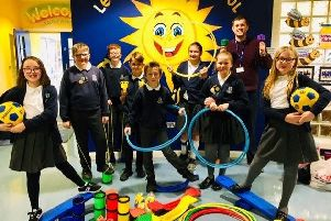 Leaney Primary School's Anti-Bullying Ambassadors with some of the play equipment purchased following their Big Bun Day (from left) Riley, Lucas, Oliver, Charlie, Elijah, Evie, Bonnie, Mr Moore, Sarah