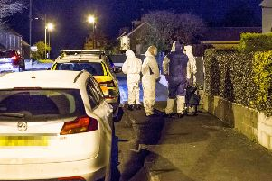 Police at the scene of the incident at Rockfield Gardens in Mosside, County Antrim on November 8, 2019. Pic Steven McAuley/McAuley Multimedia