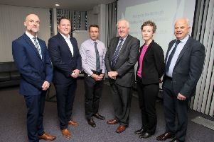 Pictured at the 'Energy in the Borough - Developing Future Solutions' event hosted by Causeway Coast and Glens Borough Council are Kevin Shiels (the Utility Regulator), Ross McClory (SSE Enterprises),  �David Jackson (Causeway Coast and Glens Borough Council Chief Executive), Bob Barbour (Smart Grid Ireland), Meabh Cormacain (Department for Economy) and Roger Henderson (NIE Networks).PICTURE STEVEN MCAULEY/MCAULEY MULTIMEDIA
