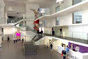 An impression of how the reception might look like at the new South Lake Leisure Centre in Craigavon