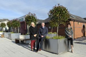 Lord Mayor, Cllr Julie Flaherty along with John Downey (Department for Communities) and Mechelle Brown (Town Centre Manager) pictured in  Kenlis Street Banbridge.