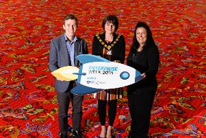 Armagh City, Banbridge and Craigavon Borough Council launched their Enterprise Week at Ulster Carpets' Castleisland Factory in Portadown. Pictured are left to right, David Acheson, Strategic Development and Finance Director, Ulster Carpets, Lord Mayor Councillor Julie Flaherty, and Colleen Casey, Business Advisor, Bank of Ireland.