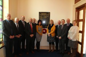 Pictured are the members of committee and Elders at the dedication of the roll of honour in katesbridge Presbyterian church from left Gordon Elliott clerk of session,Victor Clydesdale committee Robert McMinn Elder, Jeremy McCann Committee, William Cochrane Treasurer, Coleen Kennedy and Elaine McCann who both researched the names , Brian Hilland Committee,Rev Nigel Kane minister of katesbridge church who dedicated the roll of honour, Robert McIlroy Elder, and Elaine Elliott Congregational Secretary,