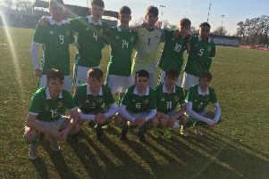 Northern Ireland Under-16s. Back row (Left to Right): Dale Taylor, Aaron Donnelly, Caolan McBride, Conner Byrne, Isaac Price, Shea Charles. Front row (Left to Right): Daryl Porter, Sean Stewart, Orrin McLaughlin, Conor Bradley (captain), Sean McAllister.