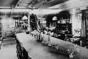 The Ward Room on board HMS Hermes in 1908. Photo: George Millener collection.