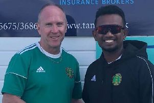 Chris Wade with last year's pro Ishan Jayaratne.